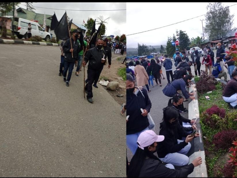 Ratusan tenaga kesehatan di Kota Oksibil Ibukota Kabupaten Pegunungan Bintang melakukan aksi long march dan membakar 1000 lilin. Foto Istimewa