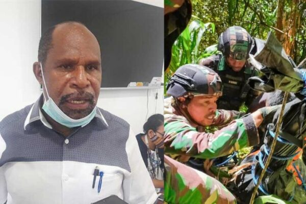 Wakil Ketua I DPR Papua, Yunus Wonda. Gabungan TNI-Pori saat mengevakuasi jenazah Zuster Gabriela Meilani dari jurang kedalaman 300-400 meter. Foto Istimewa