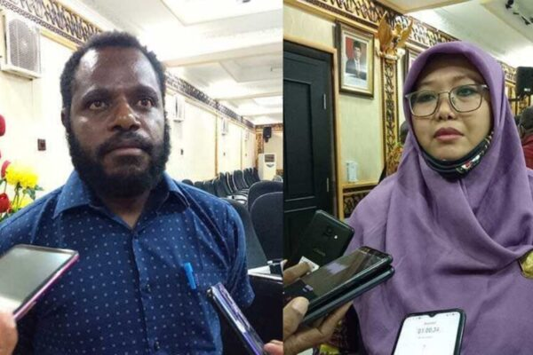 Ketua Komisi V DPR Papua, Timiles Yikwa, Sekretaris Komisi V DPR Papua, Fauzun Nihayah. Foto Tiara