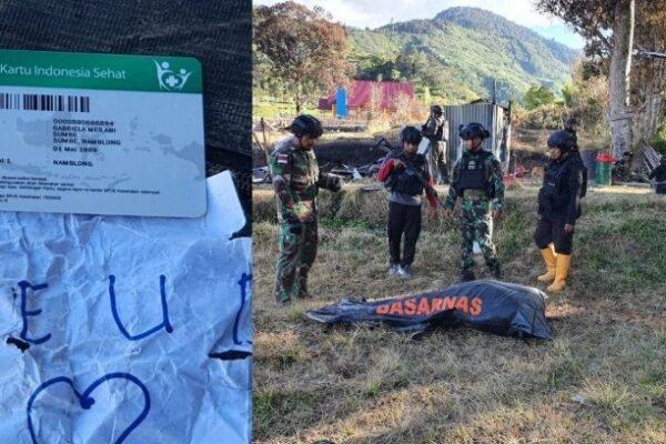 Tulisan terakhir Gabriela sebelum penyerangan. Puskesmas Kiwirok (kiri). Jenazah Gabriela berhasil dievakuasi Jumat sore. Foto Istimewa