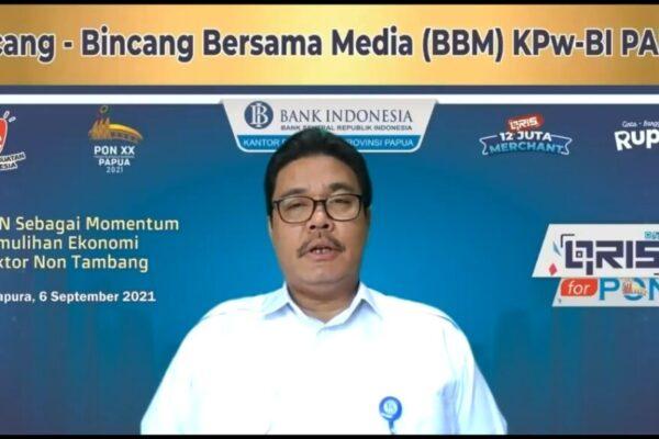 Kepala Bank Indonesia Perwakilan Provinsi Papua, Naek Tigor Sinaga dalam kegiatan BBM BI secara virtual.