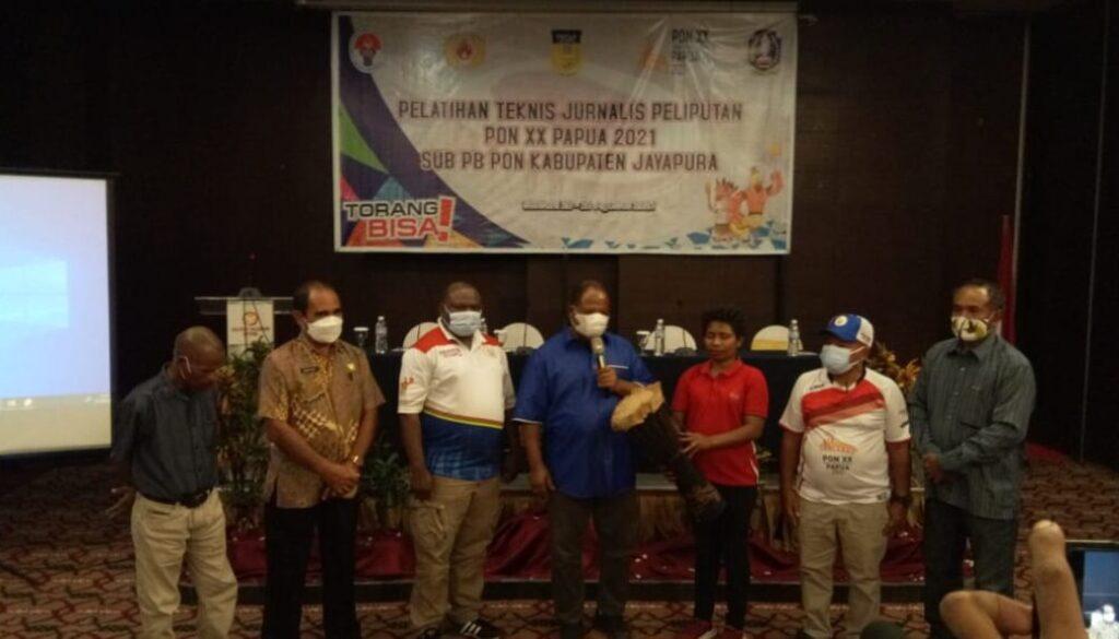Suasana pembukaan Pelatihan Teknis Jurnalis Peliputan PON XX Klaster Kabupaten Jayapura beberapa waktu lalu. Foto Irfan
