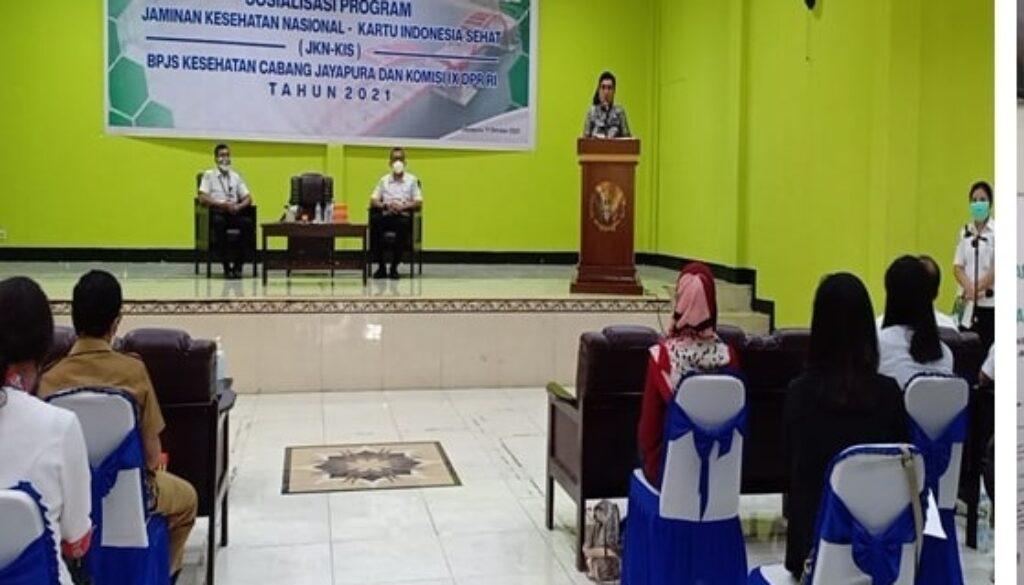 Tingkatkan pemanfaatan kanal layanan digital BPJS Kesehatan Cabang Jayapura melaksanakan sosialisasi bersama anggota Komisi IX DPR RI serta melihat langsung pelayanan administrasi kepesertaan di kantor BPJS Kesehatan Cabang Jayapura. (Foto : Istimewa)