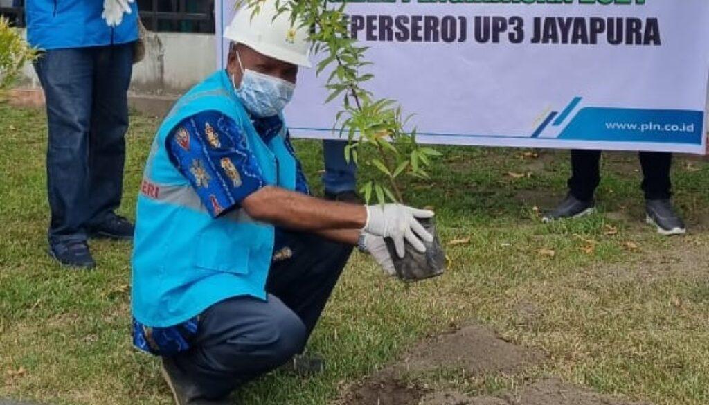 Manager PT PLN UP3 Jayapura, Salmon Kareth melakukan penanaman pohon perdana yang diikuti sejumlah staf. (Foto : Istimewa)